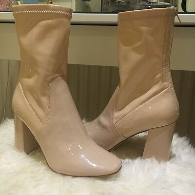 New Look Patent Boots - Cream/nude Size Uk 4 - Never Worn