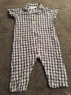 LITTLE WHITE COMPANY Boys Pyjamas Romper Age 9-12 Months