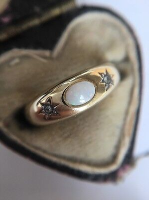 Victorian Antique Yellow Gold Opal And Diamond 3 Stone Ring Very Pretty