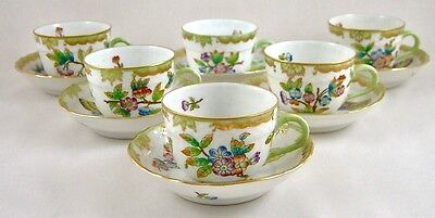 HEREND QUEEN VICTORIA VBO COFFEE/DEMITASSE CUPS & SAUCERS 1728 x 6 1ST PERFECT!