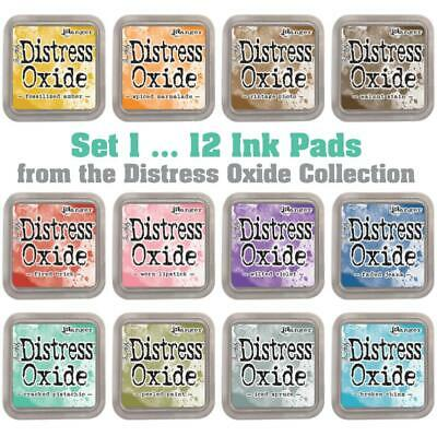 Tim Holtz Distress Oxide Ink Pads - Set 1 - 12 Colours - FREE Postage