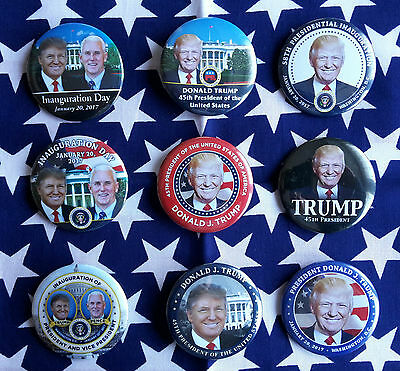 9 Donald Trump Inauguration Buttons 45. Präsident der USA