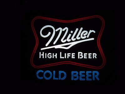 "VTG Miller High Life ""Cold Beer"" 20x15"" Lighted Beer Sign - New Old Stock"