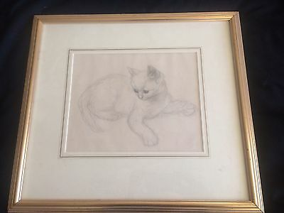 Original Vere Lucy Temple Kitten Pencil Drawing Framed