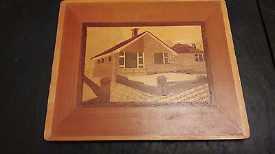 Vintage handmade marquetry wooden picture handmade