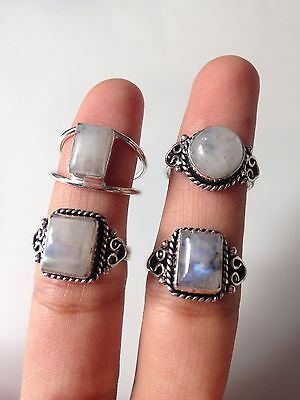 Wholesale Lot!! 925 Silver Plated Natural Rainbow Gemstone Classic Rings 4 Pcs