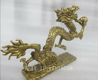 Length: 11 cm * /China's rare manual hammer old brass play pearl dragon statue
