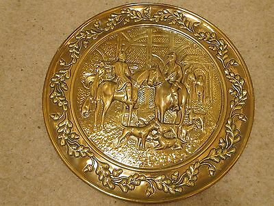 Vintage Brass Embossed Wall Plaque  - Hunting Scene - 39cms Diameter