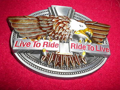 Belt Buckle 'live To Ride-  Ride To Live' Eagle  With Enamel  New Unusual