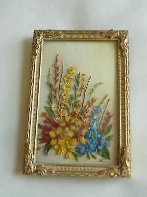 Rare Antique Miniature Brass Frame With Delicate Flower Arrangement