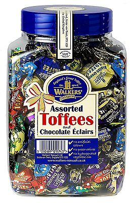 WALKERS NONSUCH Assorted Toffees and Chocolate Sweet Eclairs Jars 1.25 kg