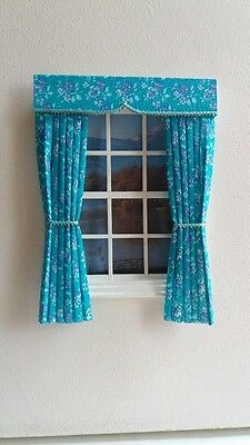Dolls House Curtains Turquoise Floral Made In Laura Ashley Fabric