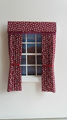 Dolls House Curtains Maroon Made In Laura Ashley Fabric