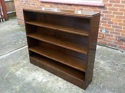 Antique Large Good Quality Heavy Solid Oak Open Bookcase With Adjustable Shelves