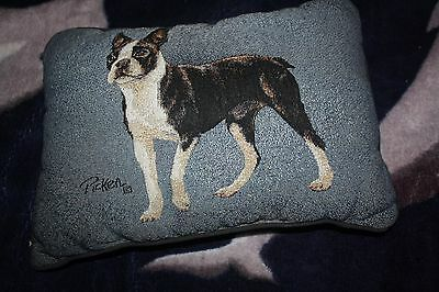 Boston Terrier tapestry pillow artist Linda Picken