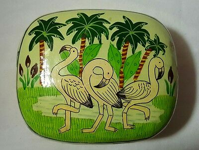 Vintage Lacquered Trinket Box Hand Painted With Flamingos