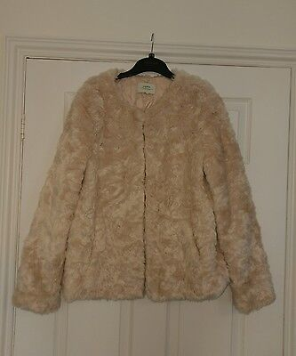 Beautiful Ladies Faux Fur Style Pink Occasion Jacket Size 14