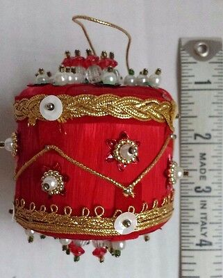 Vintage Handmade Beaded Red Satin Drum Christmas Ornament