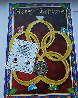2009 Isle of Man 50p Coin Christmas Coloured Five Gold Rings