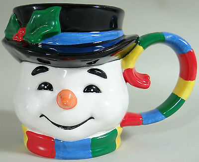 Snowman Coffee Mug Cup Large MIDWEST OF CANNON FALLS Rainbow Christmas Planter