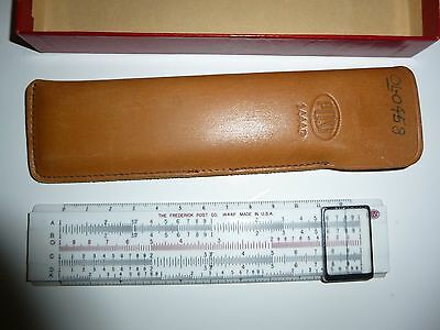 Vintage Post 1444P Slide Rule and Leather Sleeve and Original Box