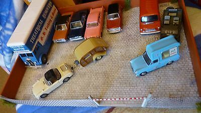 1/76 scale cars jeep and car park Diorama Ford Cortina Bedford van etc