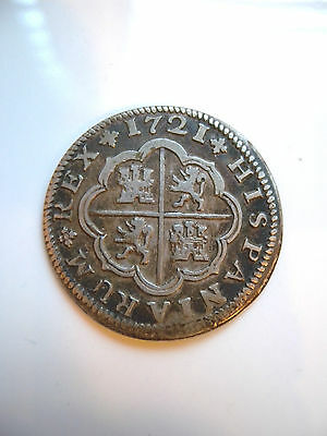 1721 Seville Spain 2 Reales Silver Coin High Grade (Km 307)