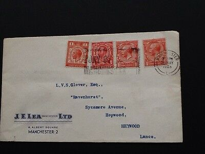 1965 Cover With Various Geo 5 1D Reds Used Manchester