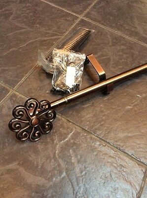 Metal Curtain Pole Bronze Effect With Finials