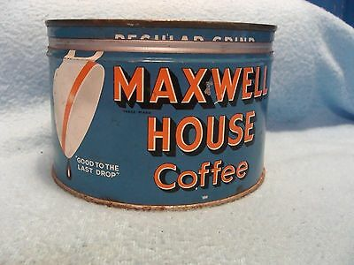 NICE CONDITION VINTAGE 1 lb MAXWELL HOUSE COFFEE TIN / CAN KEY WIND w/ LID EMPTY