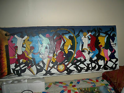 vintage Art oil painting African American original signed Zanzibar Ethnic Jim Cr