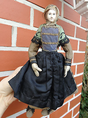 French doll dated 1860 early Breton lady closed mouth leather hands old dress