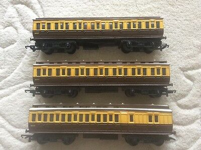 Rake of three GWR Cellestory Coaches Triang not Hornby Model Carriages