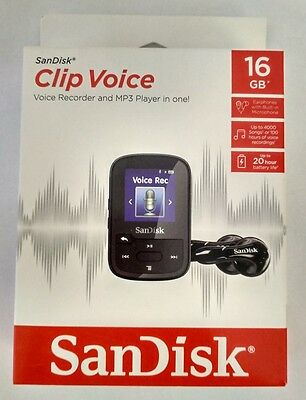 NEW SanDisk Clip Voice Recorder 16GB Black MP3 Player Music Audio Microphone USB