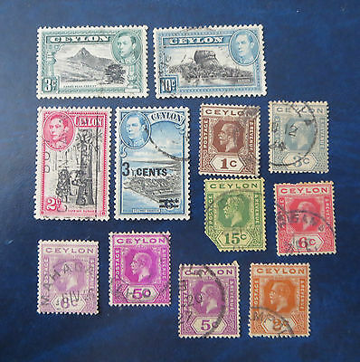 Early Used British Ceylon Stamp Lot