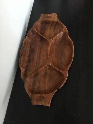 Vintage Genuine Monkey Pod Wood Dish Bowl Hand Crafted In The Philippines