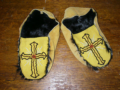 Mukluks, Moccasins - Traditionally Tanned Hide- Beaded- In Great Condition