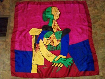 Vintage 1980's Picasso Abstract  Art Deco design Large Scarf 35x35 Silk
