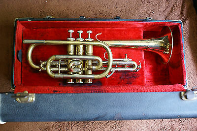 "Nice & rare FRANKLIN ""Imperial""  professional long bell cornet! LOOK !!!"