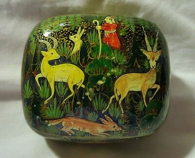 Vintage Lacquered Trinket Box Hand Painted With Exotic Animals