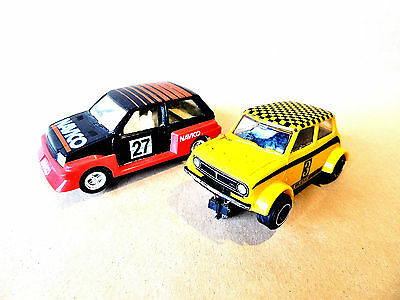 Vintage Hornby Scalextric pair of Cars, a Mini and a Metro.