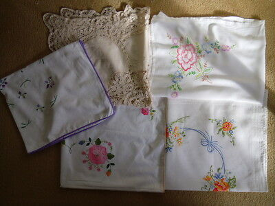 Job Lot of 5 Vintage Table Cloths. Embroidery.Lace.