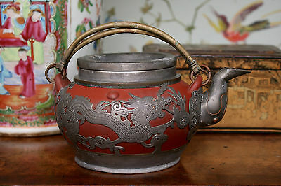 A Fine Antique Chinese Yixing Tea Pot with Pewter Mounts, Late Qing Dynasty