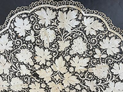 "34"" Lace Table Topper Ecru Linen Hand Embroidered Cutter E55"
