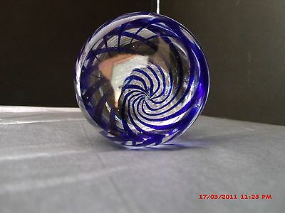 Vintage RARE  PAIRPOINT Swirl Cobalt Blue, white and Clear Paperweight Vase