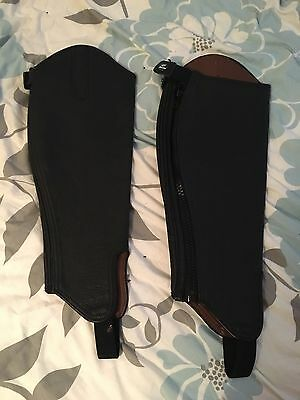 Ladies Loveson Chaps Horse Riding Black Leather With Zip & Stirrip -  Bnwot