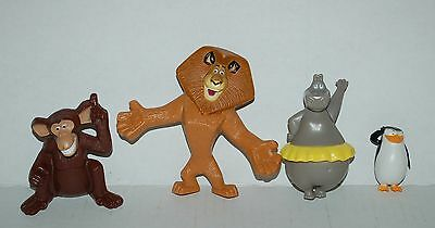 Madagascar Lot of 4 Toys McDonalds Alex Lion Skipper Penguin Gloria Hippo Monkey