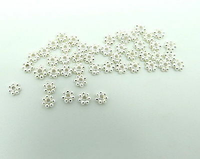 80 Pieces Bali Beads Daisy Spacer 4mm Handmade Silver Plated Bright