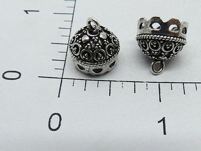 925 Sterling Silver Bali Bead Caps 2 Pieces Handmade 12 mm Beading Cap