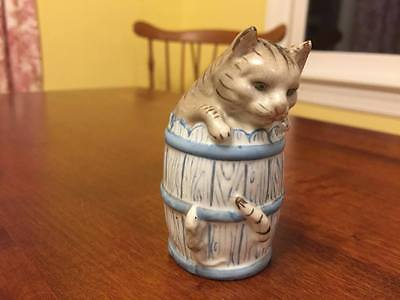 Antique Cat in Barrel w/ Mouse Salt Shaker - German?